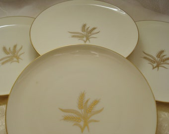 Lenox Wheat Goldstamp Salad Plates Discontinued Set of 4 Great