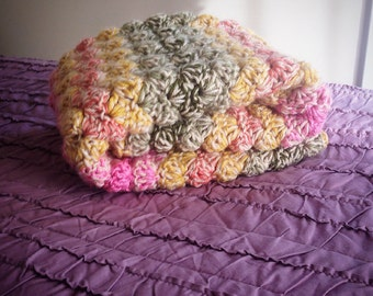 Double thick Strawberry Pink, Mustard Yellow, Sage and Olive Green Crochet Baby Blanket,  lap size.