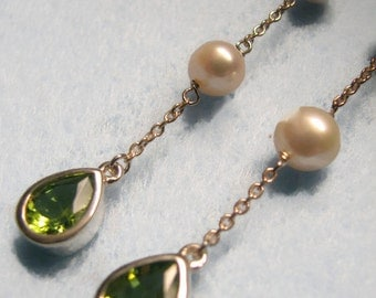 "3"" Long Vintage BOMA Drop Earrings with PERIDOT and PEARL in Sterling Silver"