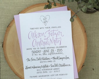 Purple and Grey Wedding Invitation