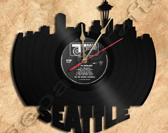Wall Clock Seattle Vinyl Record Clock Upcycled Gift Idea