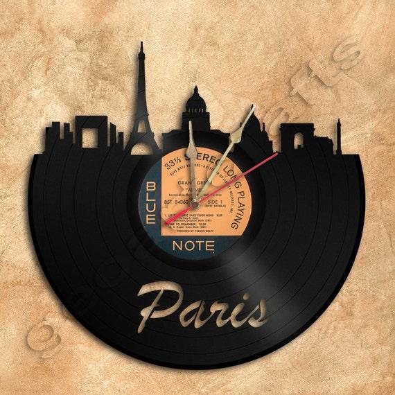 Wall Clock Paris Vinyl Record Clock Upcycled Gift Idea