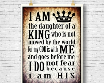 Daughter of the King, Inspirational quote printable, Scripture printable, Home Decor, DIY, Office Printable, Instant Download