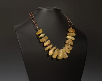 Statement Necklace with Raw Baltic Amber Nugget Beads