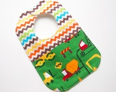On Sale, Save 25% - Designer Boy Baby to Toddler Bib - Chevron Dump Trucks - One of a Kind - Ready to Ship