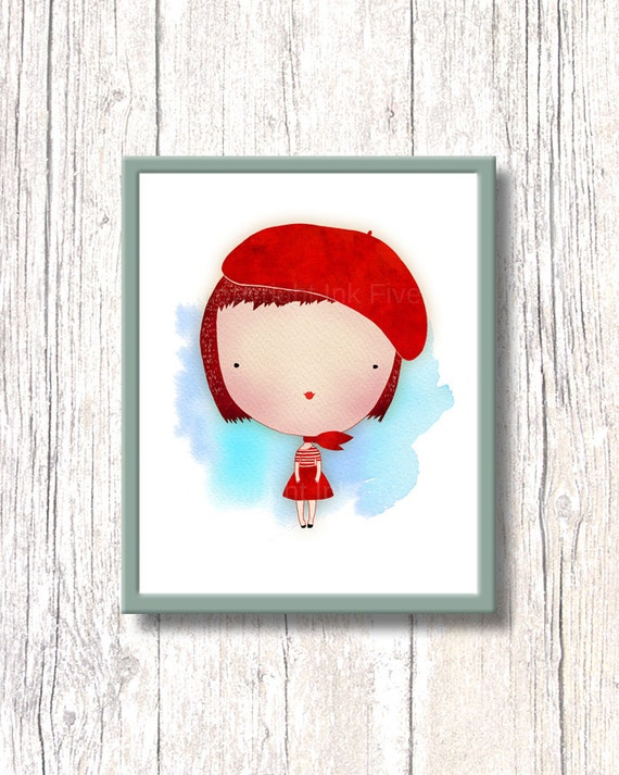 CUTE GIRL nursery art print. Kids room wall art decor. Printable red whimsy character image for children. Cute illustration for home decor.