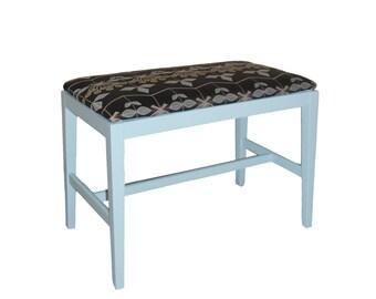 Refurbished Vintage Foot Stool Bench Upholstered