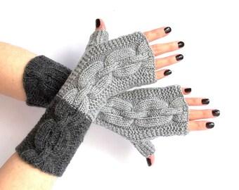 SALE - 50%OFF. Knit Fingerless Gloves. Gray Fingerless Mittens. Knitted Wrist Warmers. Hand Knit Gloves. Knit Long Gloves. Hand Warmers.