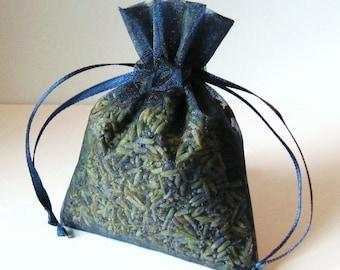 LAVENDER sachets  6 3x4 organic Lavendar in NAVY BLUE color organza bags aromatherapy