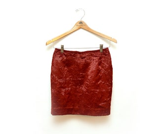 90s Cache Faux Fur Red Pencil Skirt Womens 6 26""
