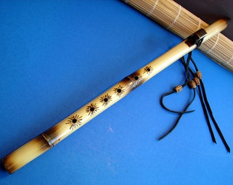 Flute.Yellow Bamboo Decorate N.A. Style Flute..Key of G