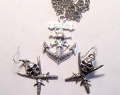 Pirate necklace, Skull and crossbone earrings, dangling jewelry set, Pirate Charm jewelry, Matching jewelry, Pirate charms, Skull earrings
