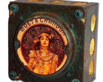 "Art Nouveau Night Light Alphonse Mucha ""Moet & Chandon"" Industrial Chic"