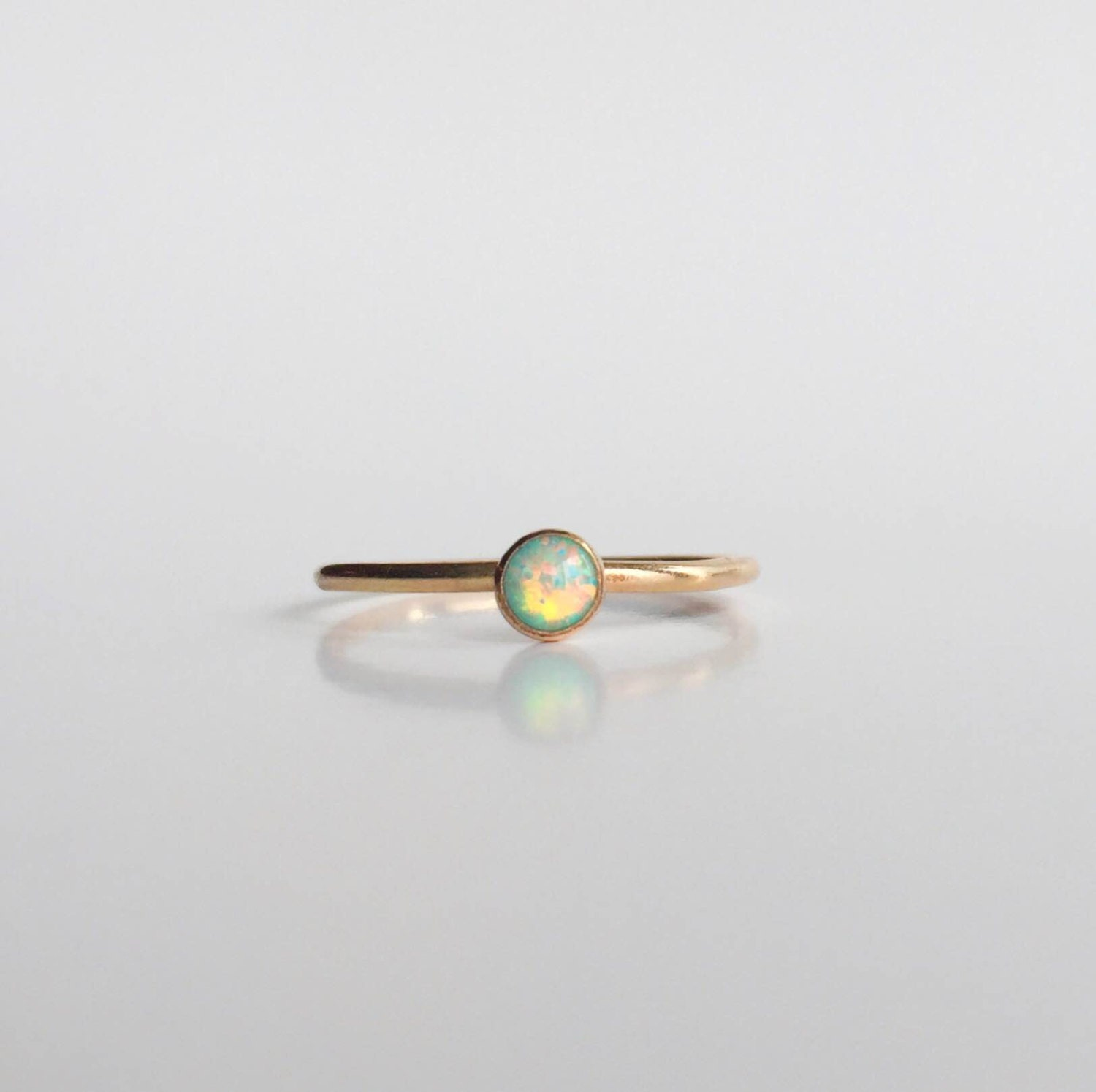 Moon Teal Opal Gold Filled Ring - Round