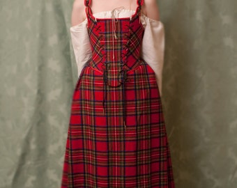 Scots set for woman costume corset + blouse + skirt