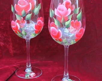 Set of 2 Hand Painted Wine Glasses - Red Roses