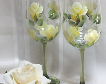 Hand Painted Wine Glasses (Set of 2) - Yellow Roses on Green Stem Glass