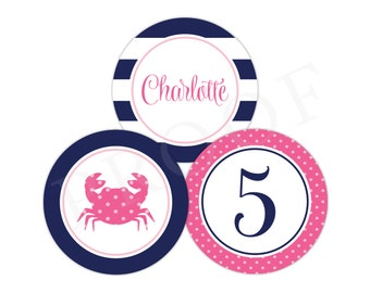3-Inch Crab Stickers (Nautical Crab Birthday, Crab Party, Girls Nautical Party, Crab Party Circle, Preppy Crab, Personalized Sticker, Pink)