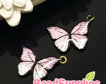 AC-EX-00807 - A set of butterfly charm, pale pink, 4 pcs