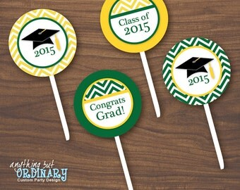 Chevron Green and Gold Graduation Party Circles for Cupcake Toppers, Favor Tags, DIY printable digital file