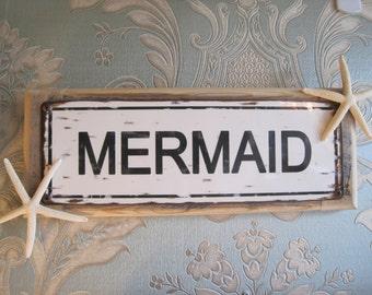 "Beach Decor Sign - ""Mermaid"" Sign - Coastal Home Decor - Wooden Sign - Mermaid Sign - Starfish"