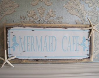 "Beach Decor Sign - ""Mermaid Cafe"" Sign - Coastal Home Decor - Wooden Sign - Beach Sign - Starfish - Mermaid Cafe"