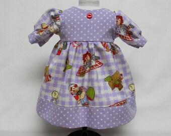 Raggedy Ann Purple & White Dress For 18 Inch Doll Like The American Girl