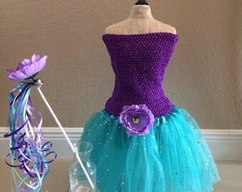 Little Mermaid Costume, Mermaid Dress, Fairy costume,Princess Costume, Purple Princess Dress, Little Mermaid Favors, Mermaid Party favors
