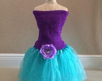 Little Mermaid Costume, Little Mermaid Dress, Fairy Tutu Dress, Purple Fairy Dress, Purple Princess Dress, Little Mermaid Favors