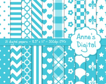 "Aqua and White Digital Papers - Matching Solid Included - 21 Papers - 8.5"" x 11"" - Instant Download - Commercial Use (054)"