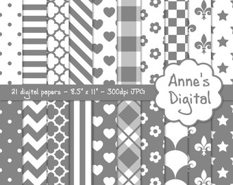 "Gray and White Digital Papers - Matching Solid Included - 21 Papers - 8.5"" x 11"" - Instant Download - Commercial Use (060)"