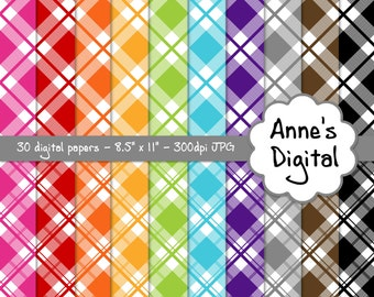 "Plaid Digital Papers - Matching Solids Included - 30 Papers - 8.5"" x 11"" - Instant Download - Commercial Use (143)"
