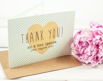 Wedding Thank You Card - Mint Stripe