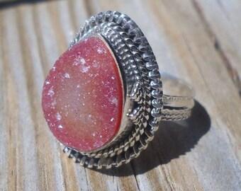 Carnelian Druzy Ring 925 Sterling Silver  Size 6.5