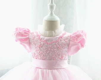 Pink Lace Top Baby Birthday Dress, Thanksgiving Dress for Toddler, Baby Christmas Dress, Baby Dress Lace, PD089-2