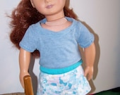18 inch / American Girl Doll / Unisex Tee Shirt, Pale Blue Short Sleeve Doll Tee Shirt; Item S-2296-18-AT-SS-16
