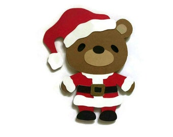 Teddy Bear Santa Card - Santa Christmas Card - Teddy Bear Card - Christmas Card - Santa Claus Cut Out - Paper Santa Claus