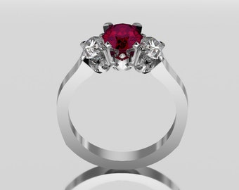 14 Carat White Gold Three Stone Ruby Ring