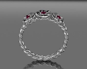14KT White gold  Three Flower Double Band Whit Accent Rubies