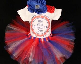 My First Memorial Day Tutu Set - Patriotic Bodysuit - My 1st Memorial Day Bodysuit - Baby's First Patriotic Bodysuit -  *PT1502