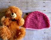 Baby Beanie Crochet Newborn Hat Dark Pink with Light Pink Trim