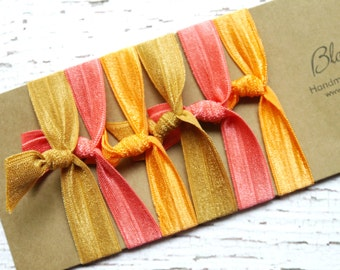 6 pcs Elastic Hair Tie - Orange/Coral/Brown Sugar Color - Assorted Hair Ties - Elastic Hair ties - Summer/Fall - Toddler to Adult