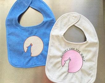 Baby bib MOON & WOLF Embroidered handmade Duran Duran