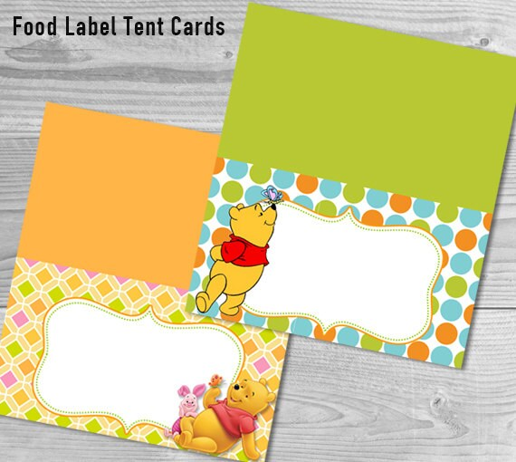 Food Label Tent Cards Winnie The Pooh Baby Shower Winnie The