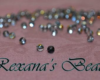 Czech Glass Druk Clear Vitrail 4mm Round Beads- Set of 200 beads