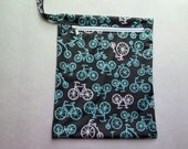 Wet Bag in Bicycle Print in Gray and Aqua