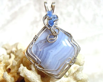 Blue Lace Agate Pendant, Crazy Lace Agate Pendant Solid Sterling Silver 935 Argentium Anti Tarnish Wire