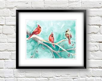 Cardinal Art Print - Red and Teal 8x10 Print