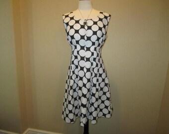 Black and White Polda Dot Casual Dress