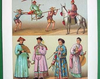 CHINA Costume Fashion of Mandarins Jewelry Pipe Transport - 1888 COLOR Original Antique Print by A. Racinet